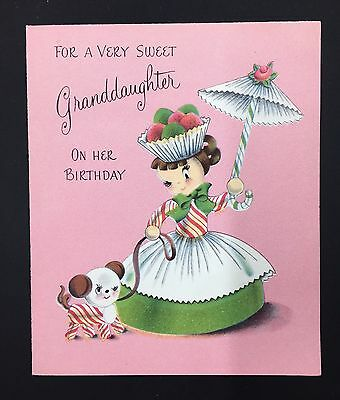 Vintage Norcross Cupcake Candy Girl Puppy Parasol Pink Birthday Card
