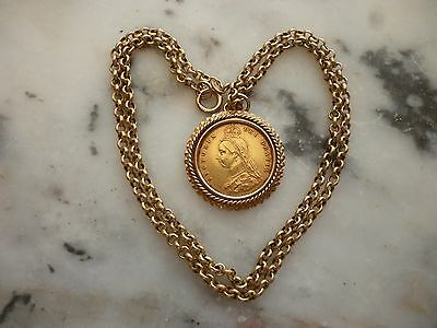 """1890 VICTORIAN HALF SOVEREIGN ON 9ct MOUNT AND 18"""" CHAIN. PRIVATE SELLER."""