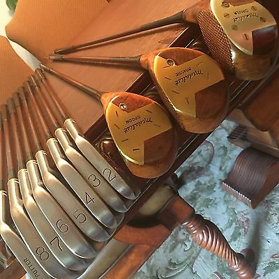 DENNY SHUTE VINTAGE ANTIQUE FULL SET GOLF CLUBS 2-8 putter/3 woods maybe NOS