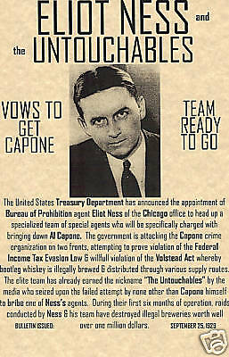 Eliot Ness~Wanted Poster Gangster Irs Fbi Capone Mob Mafia Untouchable