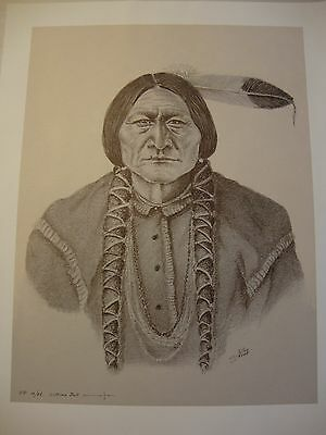 "Sitting Bull . by Native American Artist . Yatzie Dee ""Silver Eagle""  #ab859"