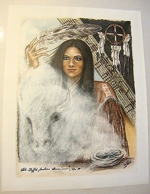 "White Buffalo . by Native American Artist . Yatzie Dee ""Silver Eagle""  #ab848"