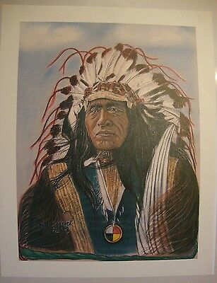 """Chief He Dog . by Native American Artist . Yatzie Dee """"Silver Eagle""""  #ab855"""