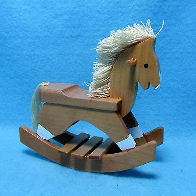 Dollhouse Miniature Wooden Rocking Horse with Mane & Tail for Nursery ~ T8465