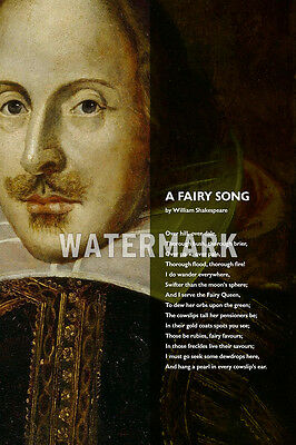 William Shakespeare Poem - A Fairy Song - Poster Photo Print Art Gift