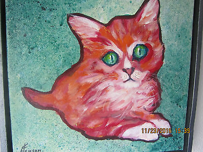 """""""Kitty Cat"""" 11"""" x 11"""" Original Acrylic Painting, Artist Signed, Dated & Framed"""
