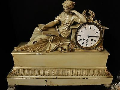 Monumental 19th c. French Figural Bronze Clock w/ Vincenti Movement cold painted
