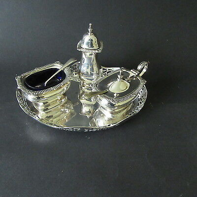 A Good Quality And Attractive  Three Piece Condiment Set Complete With Its Stand