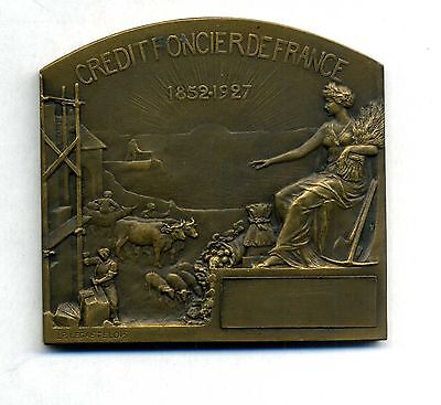 French bronze plaque Crédit Foncier de France by Legastelois /with boxe