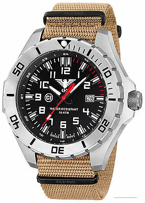 KHS Tactical Watch 56mm Military C1-light Swiss Movement Rotating Bezel Army Ban