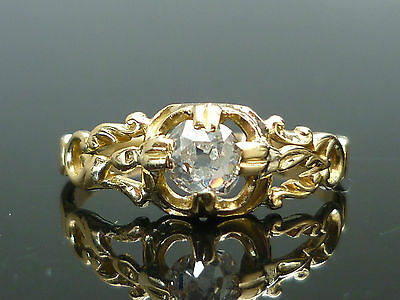Stunning 18ct gold Ornate Victorian 0.43ct Old mine cut solitaire diamond ring