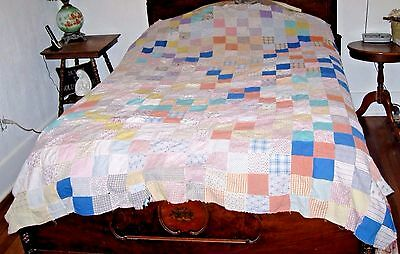 "VINTAGE QUILT TOP MULTI-COLOR COTTON FABRIC SQUARES MACHINE SEWN TOP 68"" x 80"""