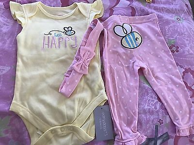 BNWTS Bee Happy Baby Girl Outfit 6-9 Months
