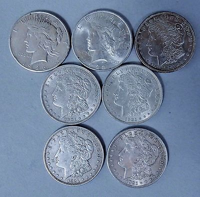 7 - US Silver Dollars as shown, 90%  Silver, Morgan and Peace
