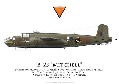 Print Mitchell Mk III (B-25), No 320 (Dutch) Squadron, RAF, 1945 (by G. Marie)