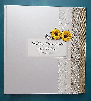 Large Ivory Personalised Wedding Photograph Album - Sunflower & Butterfly Design