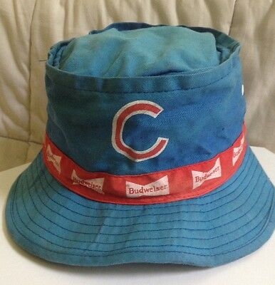 9a230d658f5 Vintage 80s Chicago Cubs Budweiser Beer Bucket Hat Logo Fishing Sun Baseball