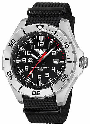 KHS Men's Military Wristwatches C1-light Date Army Watch Band Black KHS.LANS.NB