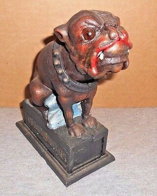 "BULLDOG PUG DOG Mechanical Bank ""CIGAR 5¢ NICKELS"" Glass Eyes BOOK Of KNOWLEDGE"