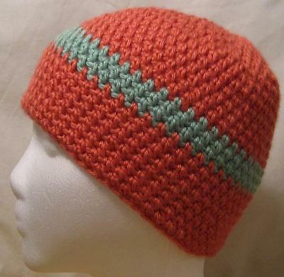 HANDMADE Knit Crochet Women's Cap Beanie Hat Peach and Teal Cap