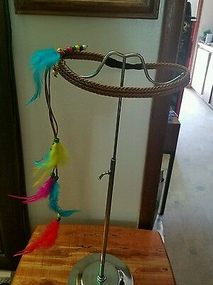 Headband Brown with feathers, leather,