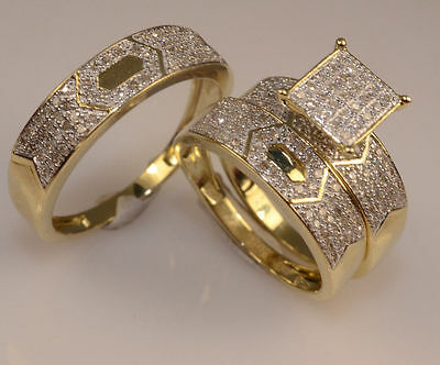 Diamond Wedding 14K Yellow Gold Trio His And Her Bridal Engagement Ring Band Set
