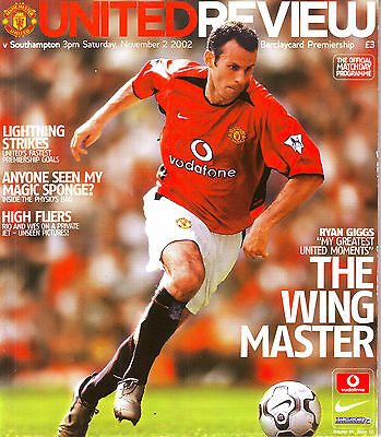 MANCHESTER UNITED v SOUTHAMPTON PREMIERSHIP 2 NOV 2002 GIGGS FEATURE EXC COND.