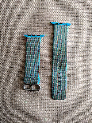Scuba Blue Apple Watch 42mm Woven Nylon Band