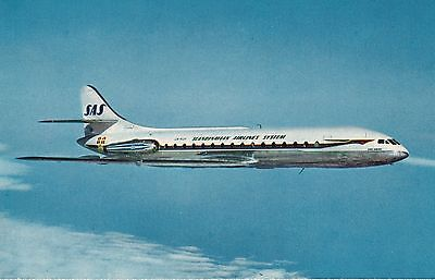 Sas Caravelle Airline Issue Postcard