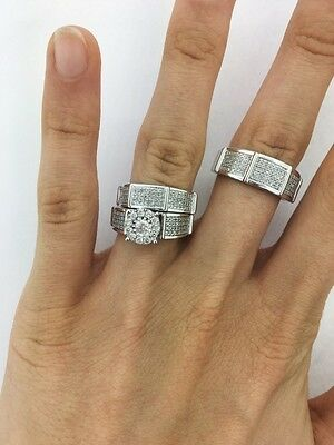 14K White Gold His and Her Diamond Engagement Bridal Wedding Band Trio Ring Set