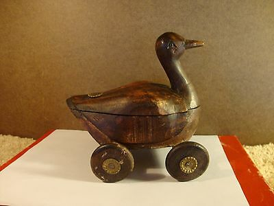 Antique Hand Carved Toy Duck on Wheels Center Compartment Pull Toy Rare