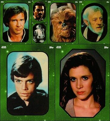 Topps Star Wars Card Trader Sticker Art Full 7 Card [GREEN SET] Han/Leia/Luke+++