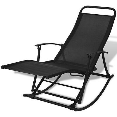 #Foldable Reclining Outdoor Garden Patio Rocking Chair Sun Lounger Seat Camping