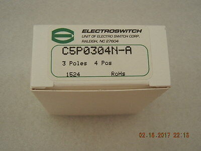 Electroswitch C5P0304N-A Rotary Switch, 3 Poles 4 Positions, New