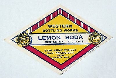 Western Bottling Works Lemon Soda Label - Diamond Shape - Very Old