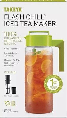 Takeya 11171 Flash Chill Iced Tea Maker With Extra Large Infuser Avocado NWOB