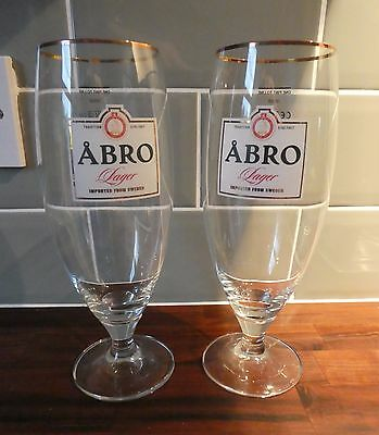 Rare Pair of Abro Swedish Scandinavian Lager Beer Pint Glasses Gold Rimmed