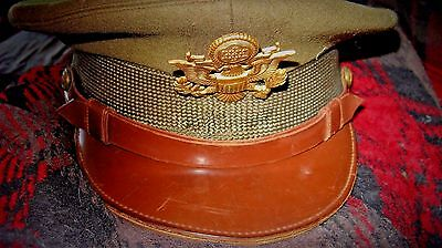 US WW2 Original Air Corps Officer's Crusher Style Visor Hat Cap .