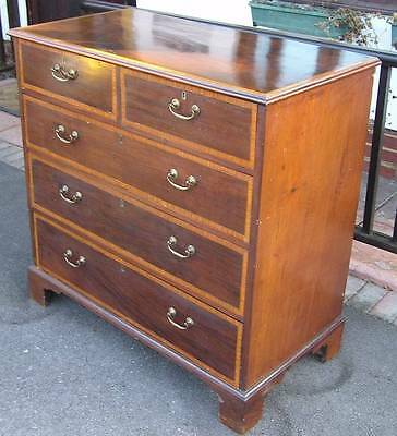 Large Vintage Edwardian Banded Mahogany Chest Of Drawers  - 2 Short And 3 Long D