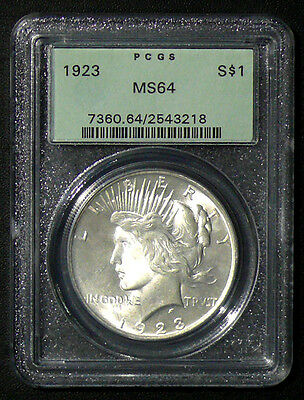 1923 Ms-64 Peace Silver Dollar * Old Holder Pcgs * Nice Coins