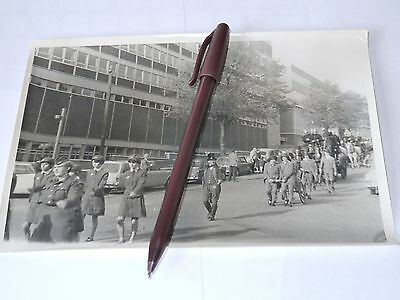 vintage photograph Leicester fire brigade march in town used as press photo