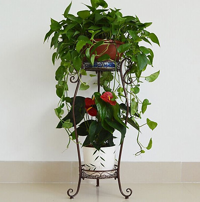 Large  Wrought Iron Two Flower Pot Tier Plant Stand  Patio 3 Legs Bronze