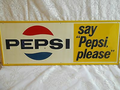 GREAT SHAPE * 1965 Vintage SAY PEPSI PLEASE  Beverage Soda Tin Embossed Sign