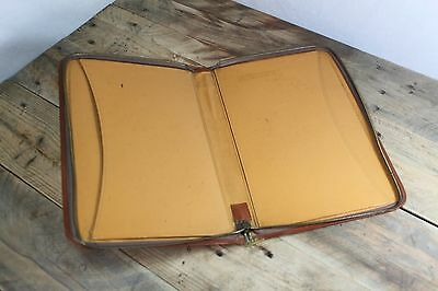 Vintage Brown Leather Writing Case Documents File With Latch