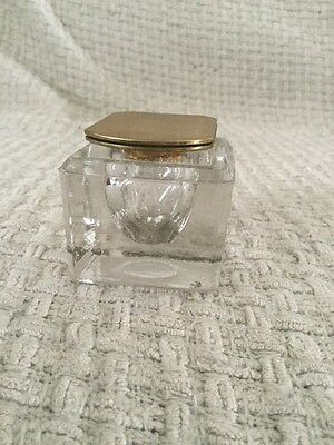 Antique Vintage Glass And Brass Inkwell