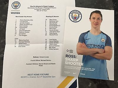 Man City Womens V Reading Ladies 28.08.2016 + Teamsheet ** Mint **