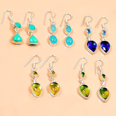 New Turquoise, Chalcedony & Quartz 5 Pc Silver Plated Wholesale Earring  M0806