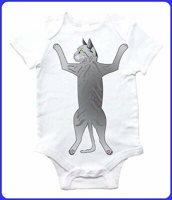 Cat Hug Design Printed on a White 3-6M Onesie