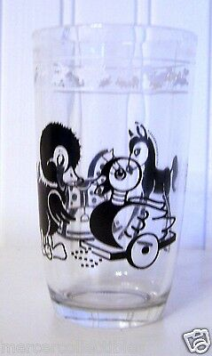 """Vintage Children's Glass (3 3/4"""" High, 2 1/4"""" Wide) Featuring Toys"""