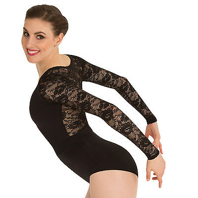 Body Wrappers Women's Black Long Sleeve Leotard Size Large